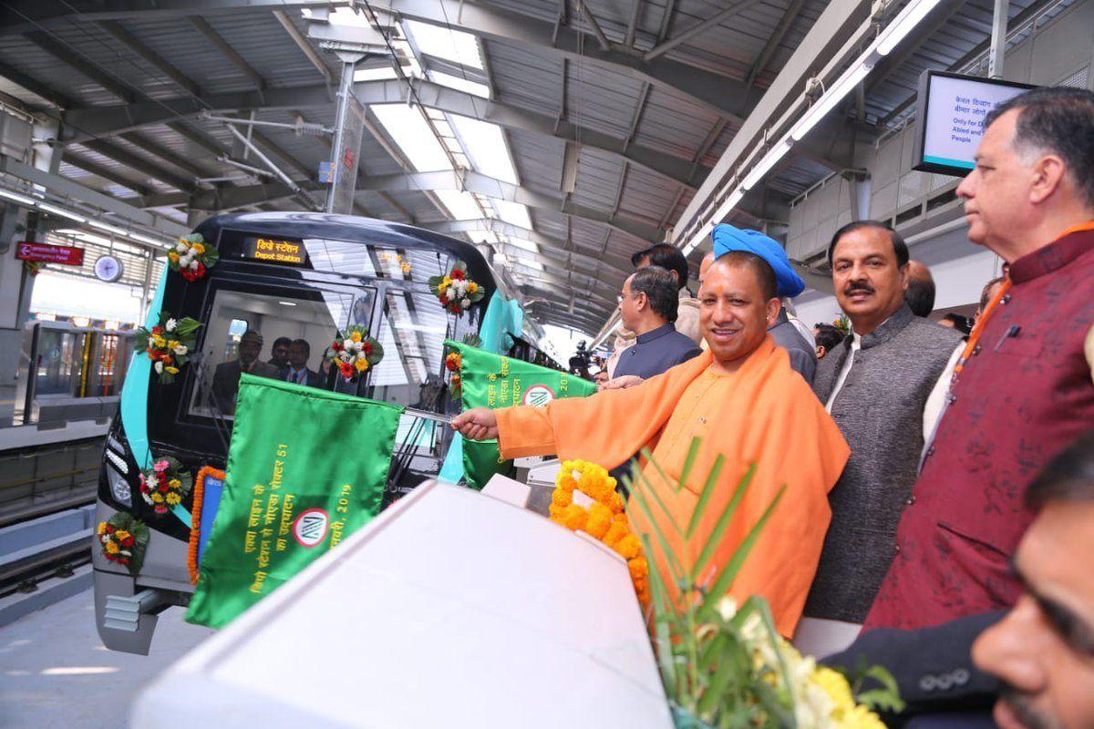 नोएडा में मुख्यमंत्री ने किया मेट्रो की एक्वा लाइन का उद्घाटन