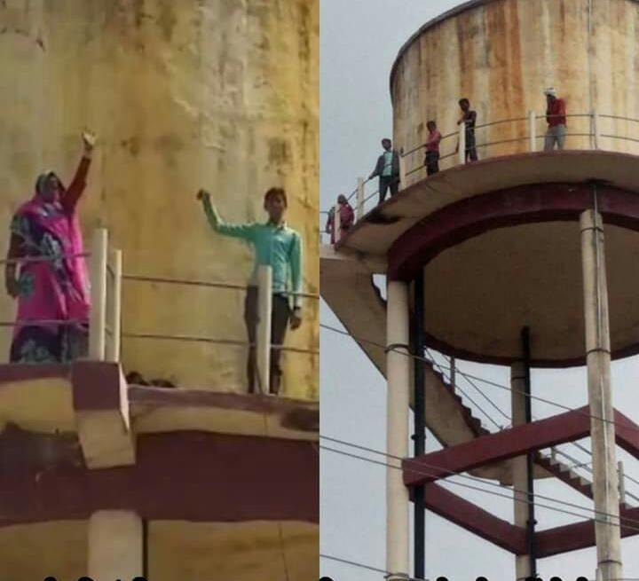 पुलिस प्रशासन की कार्य शैली से क्षुब्ध पीड़ित परिवार जिला महिला चिकित्सालय में पानी की टंकी पर चढ़ा