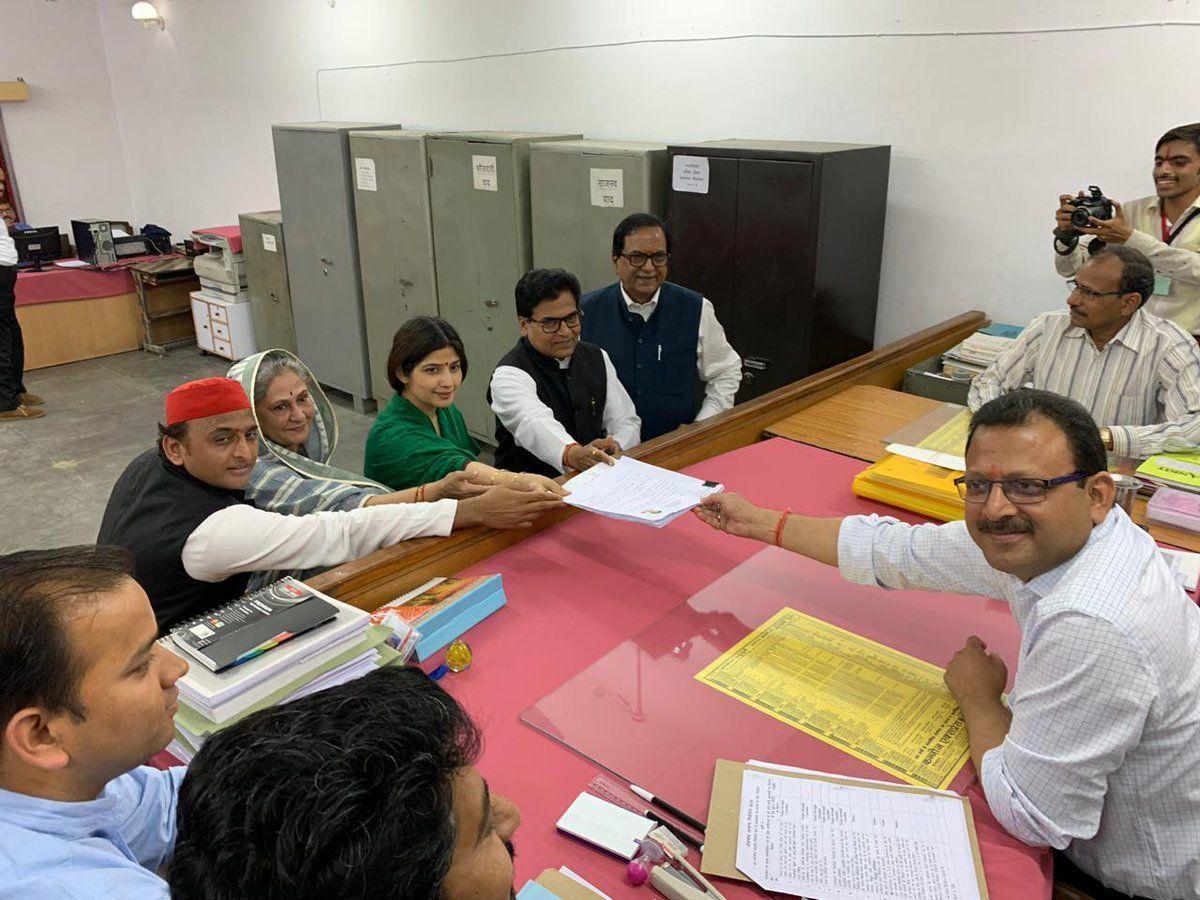 समाजवादी पार्टी और बहुजन समाज पार्टी के वरिष्ठ नेताओं के साथ कन्नौज लोकसभा सीट से डिंपल यादव ने किया नामांकन
