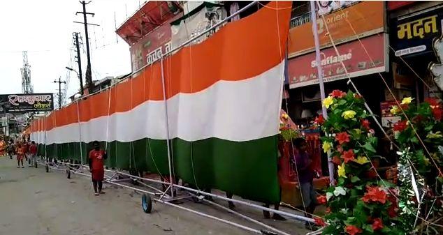 मुजफ्फरनगर में 251 फीट लम्बी तिरंगा झंडा कांवड़