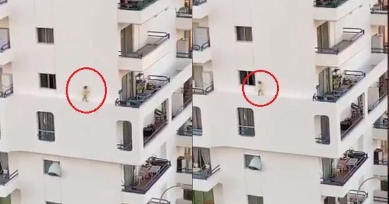 5वीं मंजिल की पतली रेलिंग पर खेलती दिखी बच्ची, वीडियो वायरल