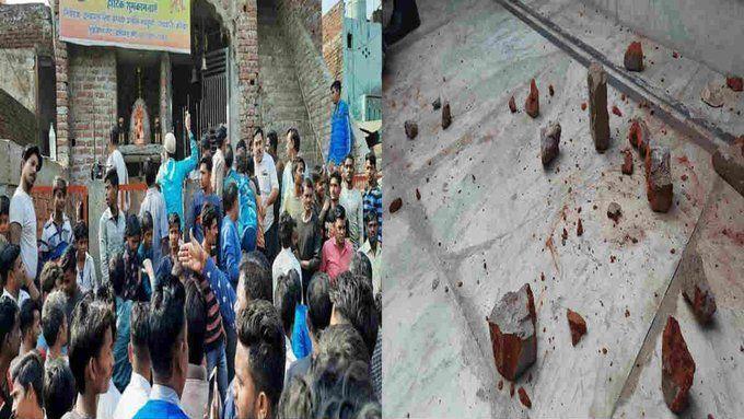अलीगढ़ लाइव अपडेट: CAA विरोध की आड़ में उपद्रवियों ने दुर्गा मंदिर पर किया पथराव, इलाके में तनाव