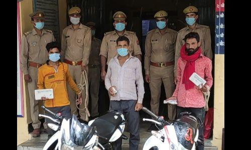 इटावा पुलिस ने 2 चोरी की मोटरसाइकिल और अवैध असलहा समेत 2 मोटरसाइकिल चोरों को किया गिरफ्तार