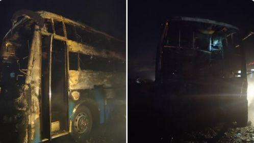 कर्नाटक के चित्रदुर्ग में दर्दनाक हादसा, प्राइवेट बस में आग लगने के चलते 5 यात्रियों की मौत