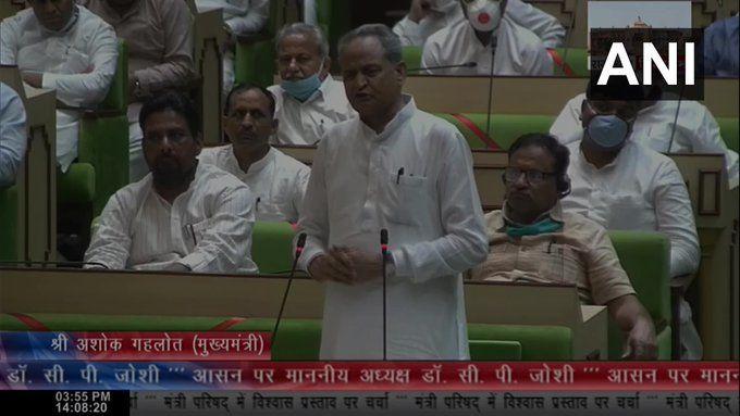 राजस्थान विधानसभा में मुख्यमंत्री अशोक गहलोत ने हासिल किया विश्वास मत, 21 अगस्त तक सदन स्थगित